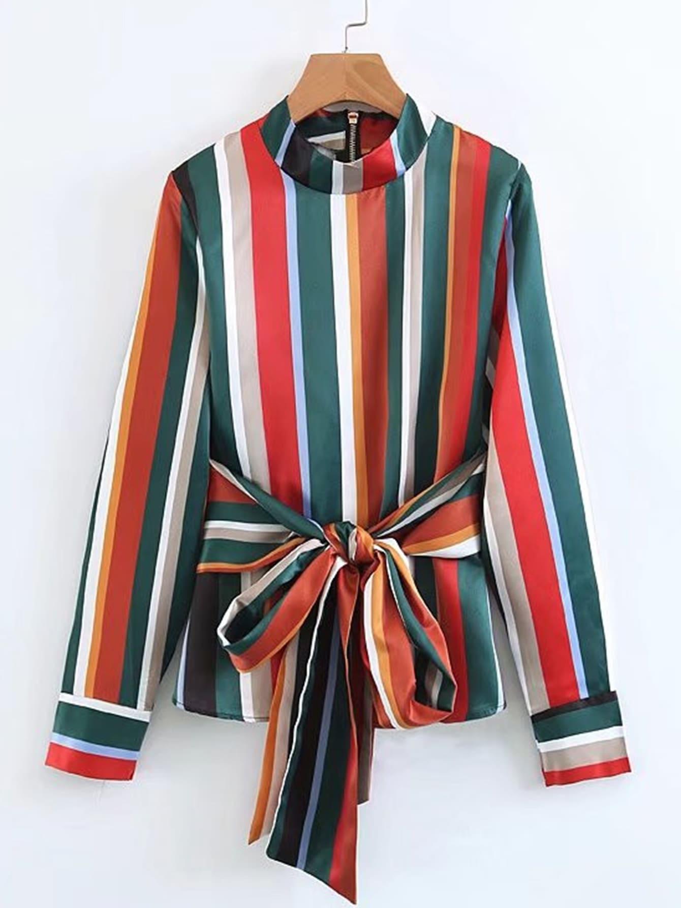 Block Striped Self Tie Blouse self tie solid blouse