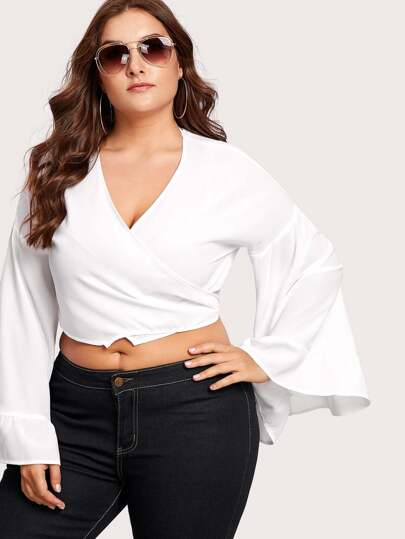Trumpet Sleeve Crop Wrap Top