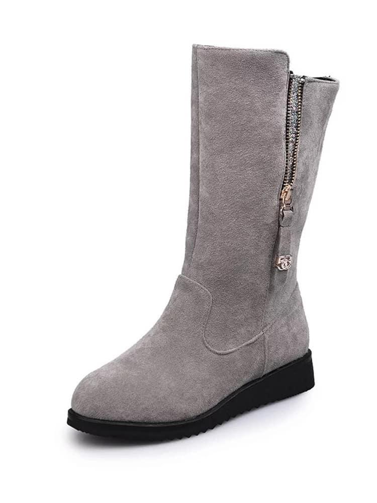 Side Zipper Round Toe Flat Boots