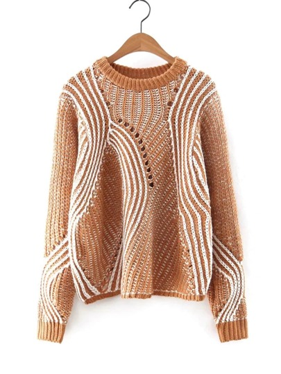 Asymmetrical Striped Pointelle Sweater