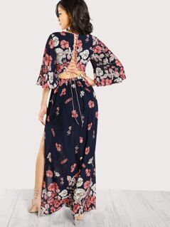 Lace Up Back Plunge Neck Split Floral Dress