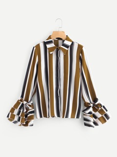 Bow Tied Layered Cuff Vertical Striped Blouse