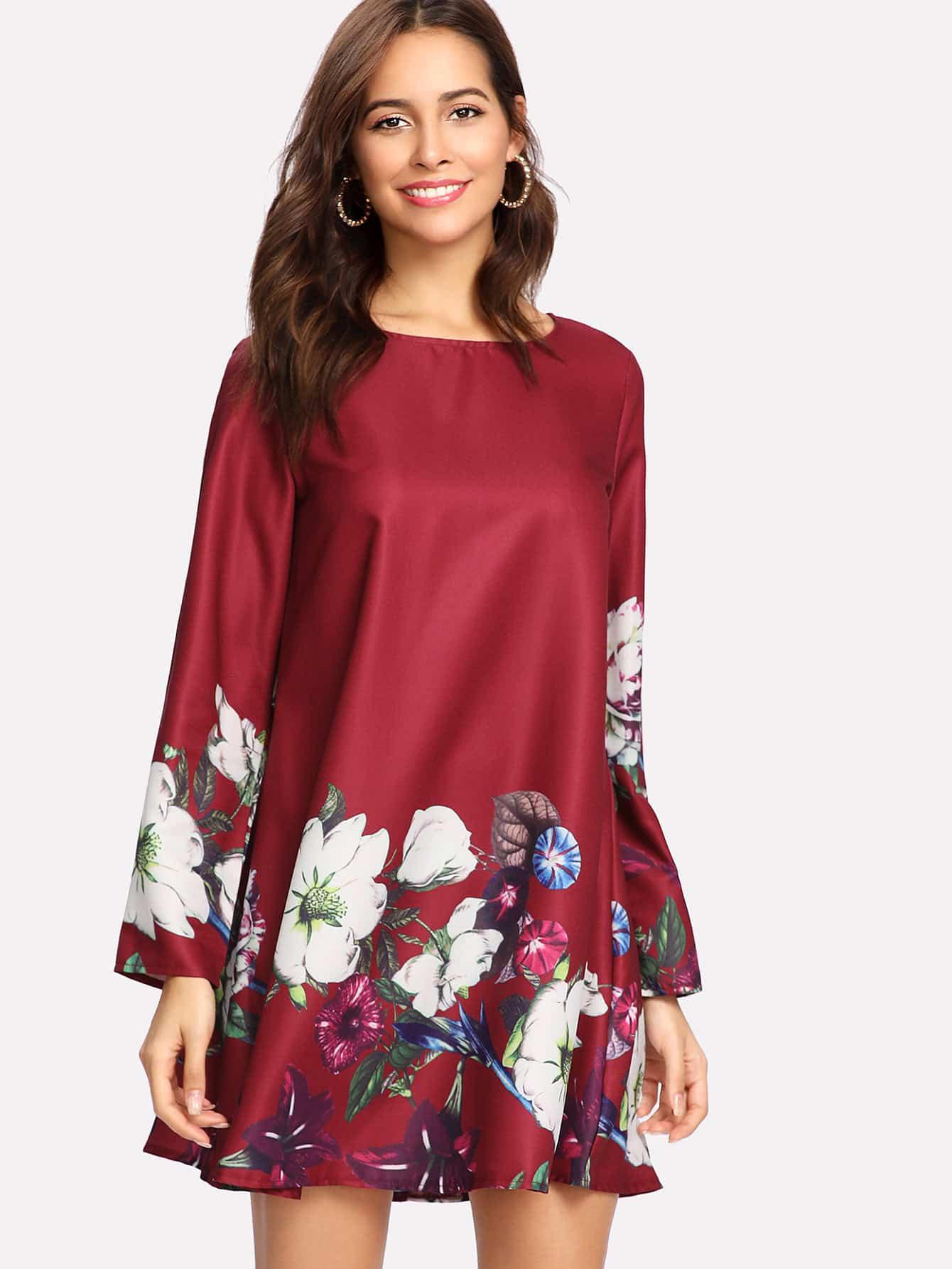 Flower Print Tunic Dress flower print tunic dress