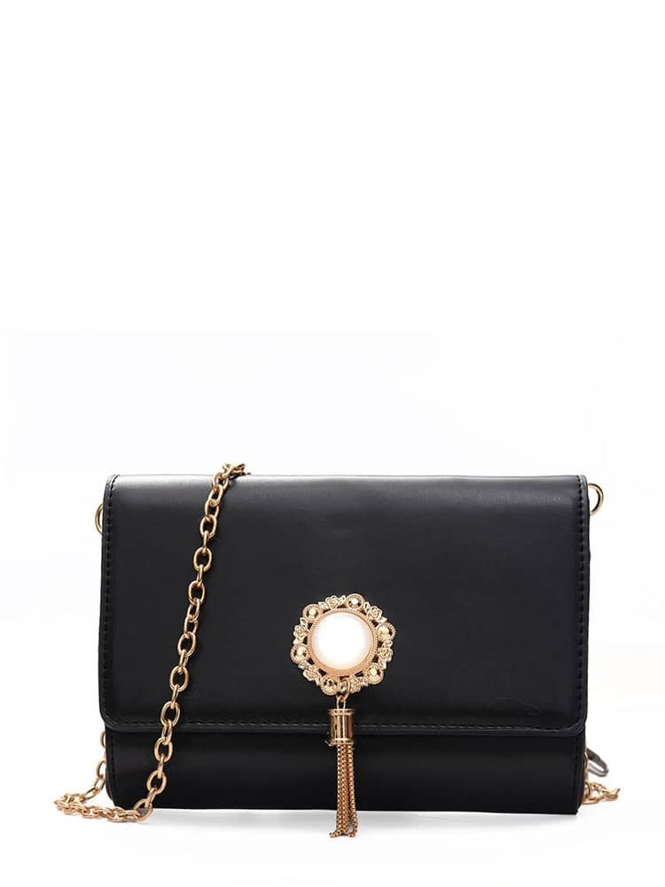 Metal Decorated Chain Flap Bag