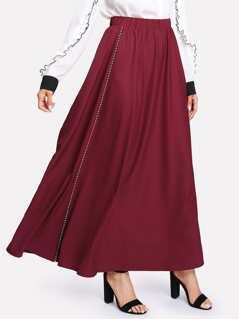 Elastic Waist Tipping Detail Swing Skirt