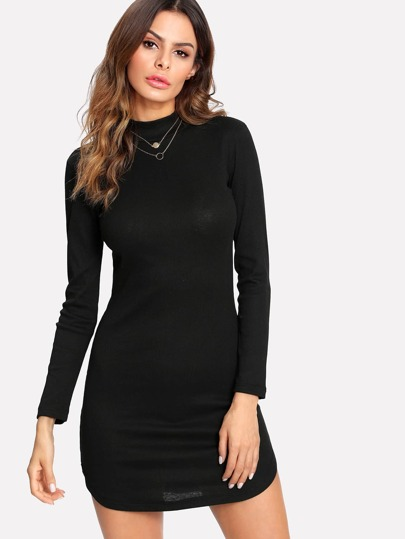 Curved Hem Split Side Knit Bodycon Dress