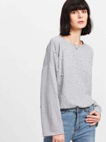 Pearl Beading Marled Knit Pullover