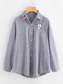 Rabbit Embroidery Striped Blouse