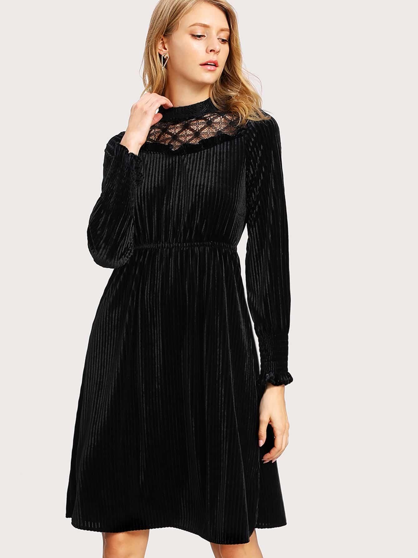 Lace Insert Frill Trim Velvet Dress