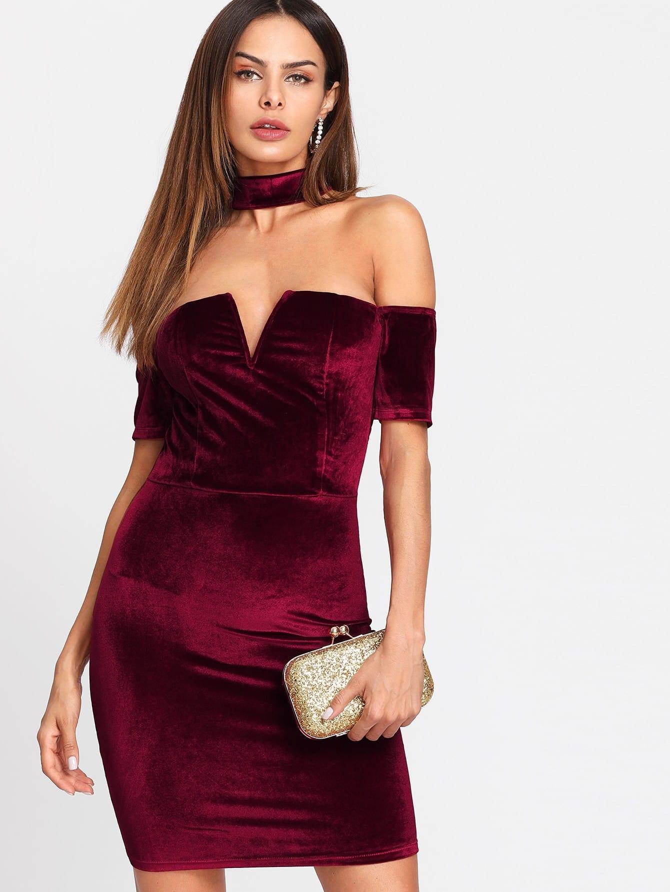 Form Fitting Velvet Dress metallic form fitting dress