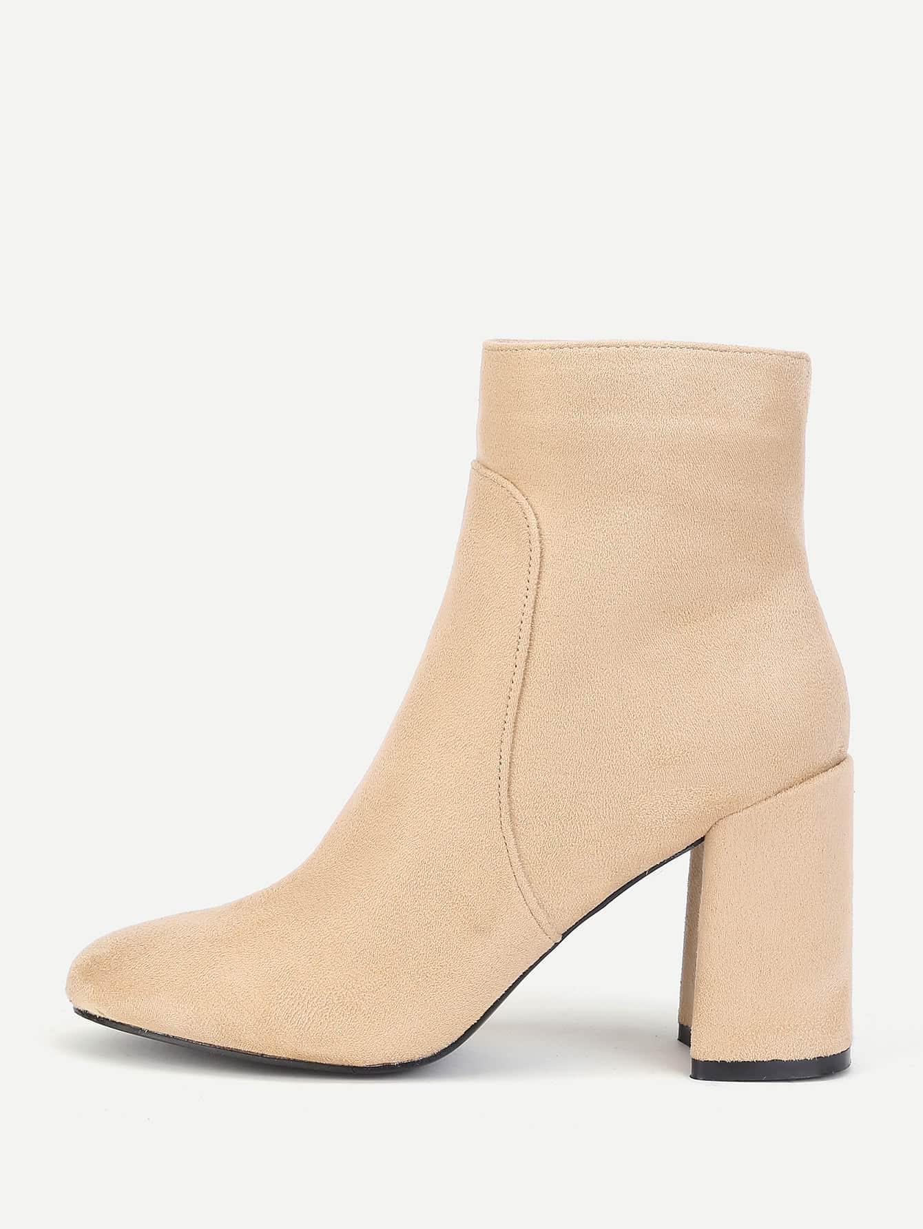 Block Heeled Side Zipper Ankle Boots