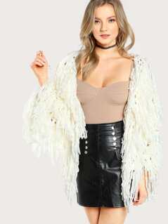 Faux Fur Open Cardigan IVORY