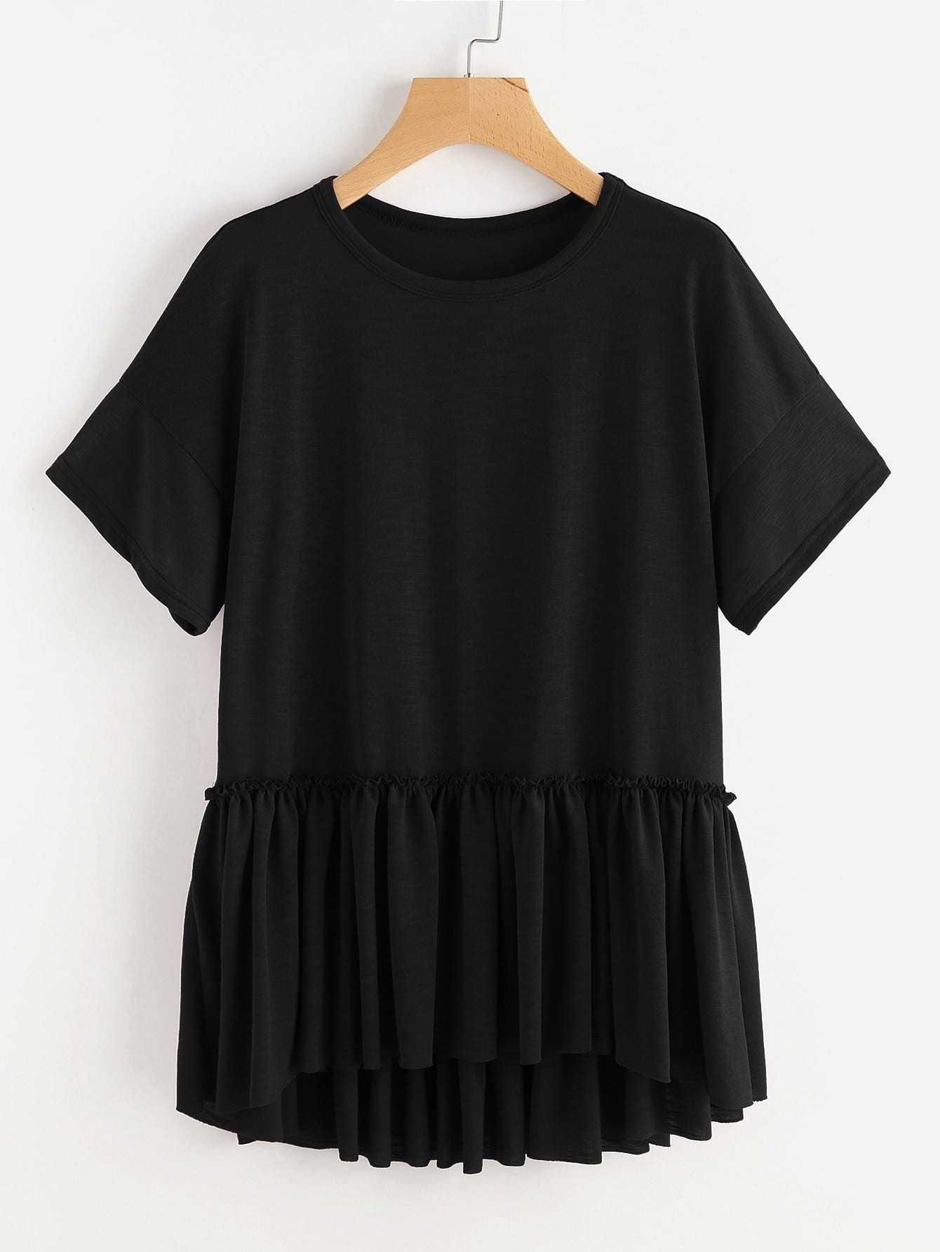 Drop Shoulder Frill Detail Dip Hem Tee drop shoulder grommet tie detail sweatshirt