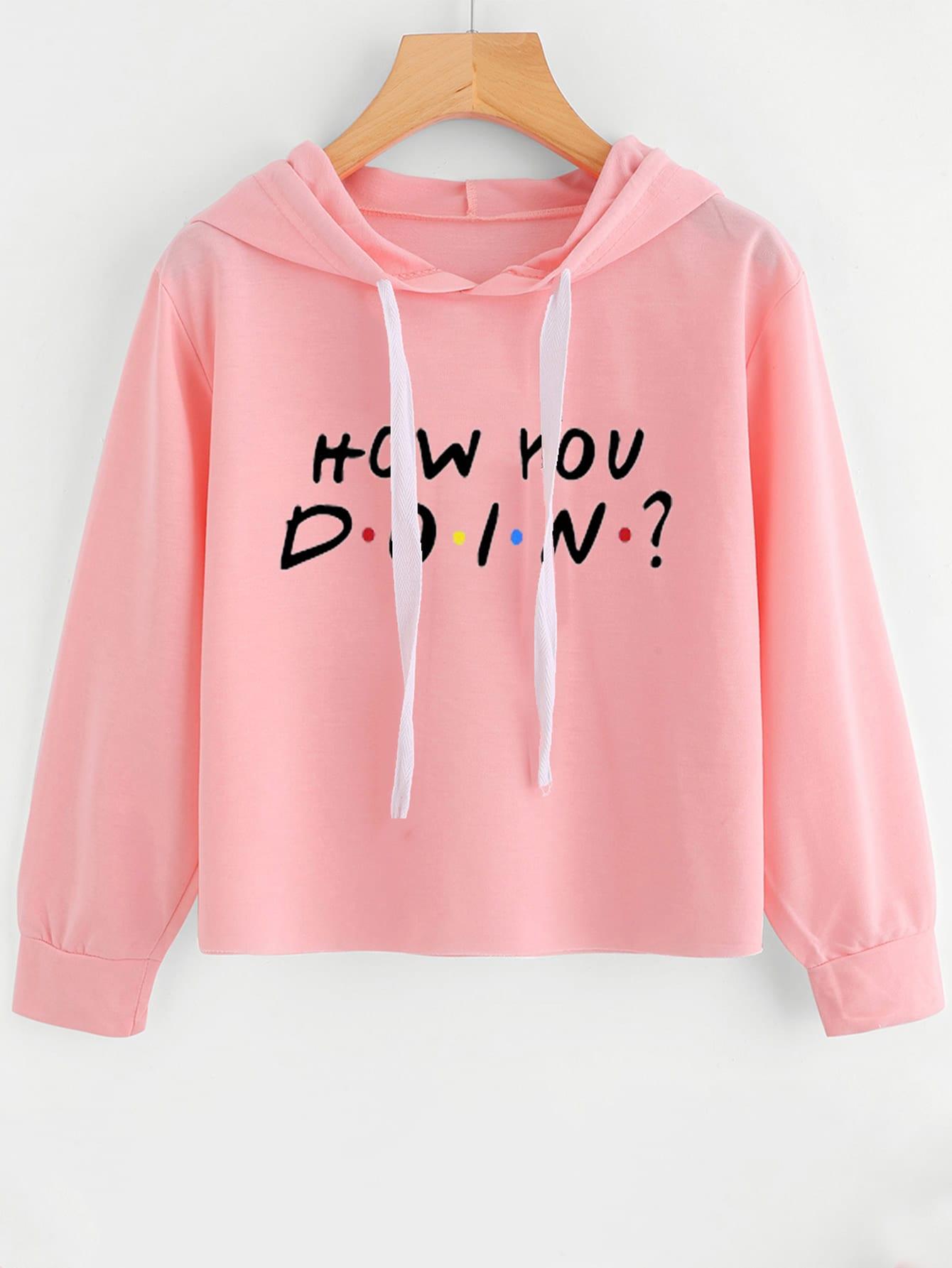 Slogan Print Drop Shoulder Hoodie slogan print drop shoulder sweatshirt