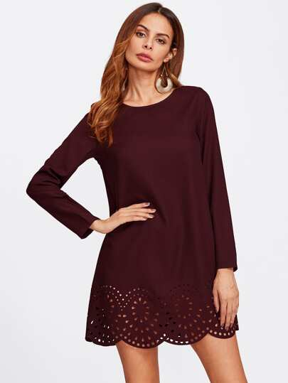 Scallop Laser Cut Hem Tunic Dress