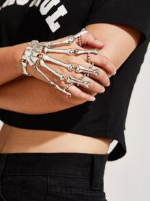Hand Bone Design Bracelet With Finger Ring