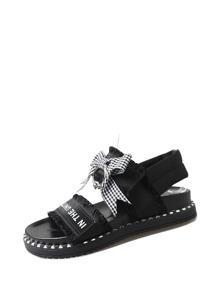 Raw Trim Bow Decorated Flatform Sandals