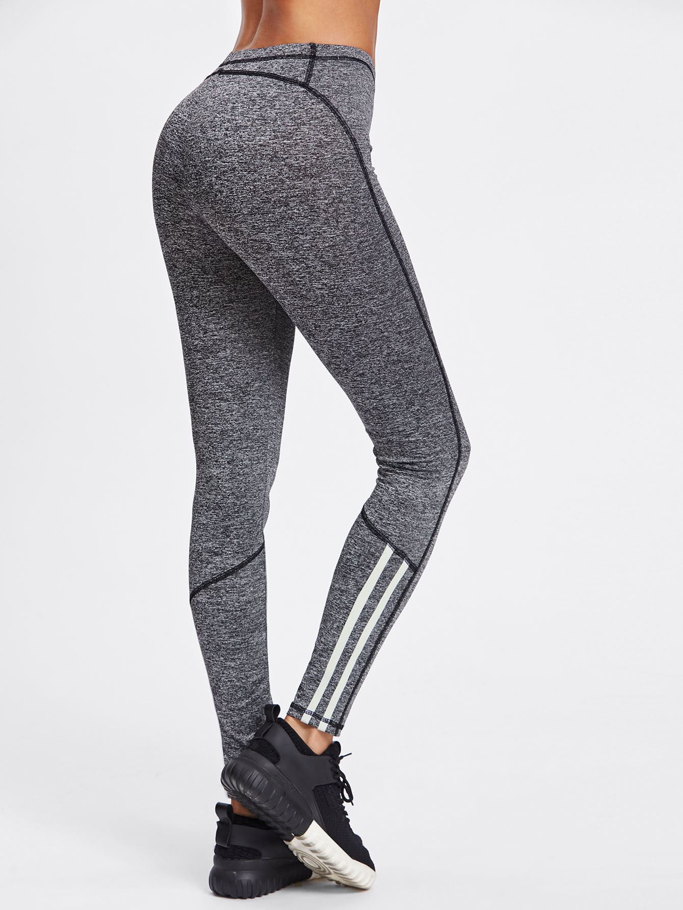 Striped Detail Marled Knit Leggings