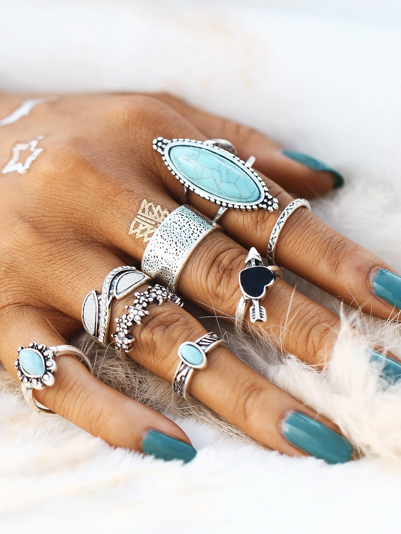 Heart & Flower Design Ring Set With Turquoise open heart design ring