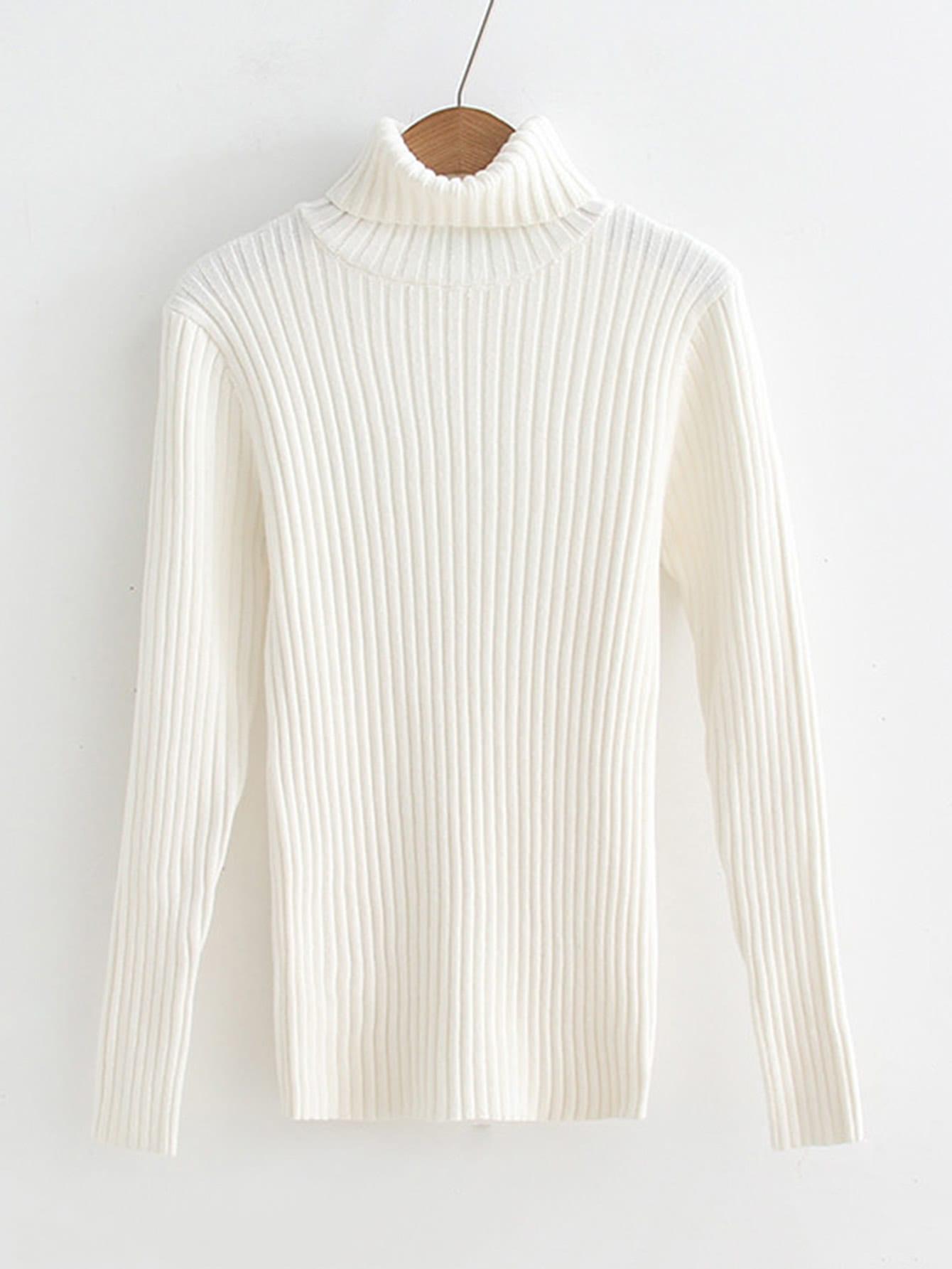 Rib Knit Turtleneck Slim Fit Sweater rib knit turtleneck sweater