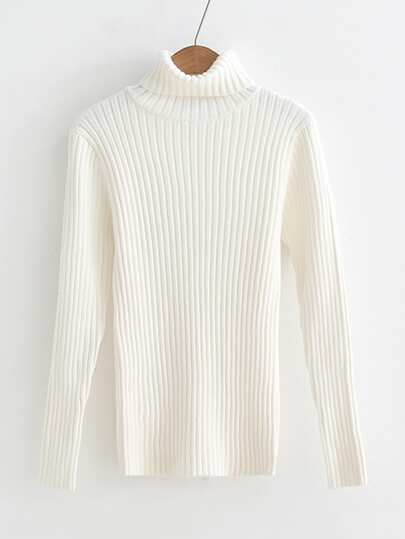 Rib Knit Turtleneck Slim Fit Sweater