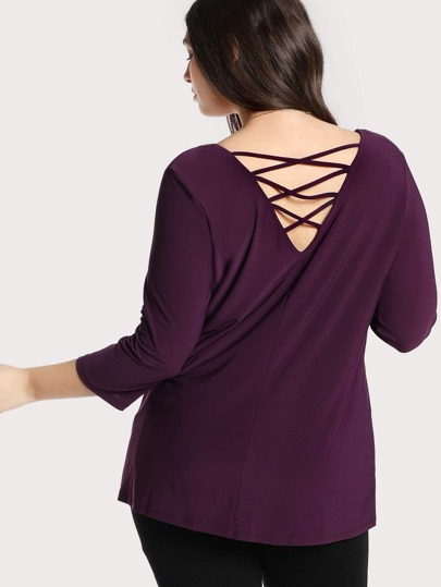 Criss Cross Back Quarter Sleeve Top