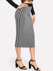 Striped Side Contrast Waist Skirt