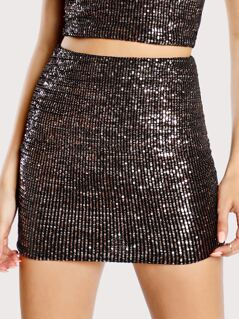 Sequin Mini Skirt ROSE GOLD