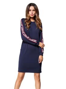 Letter Tape Detail Sweatshirt Dress
