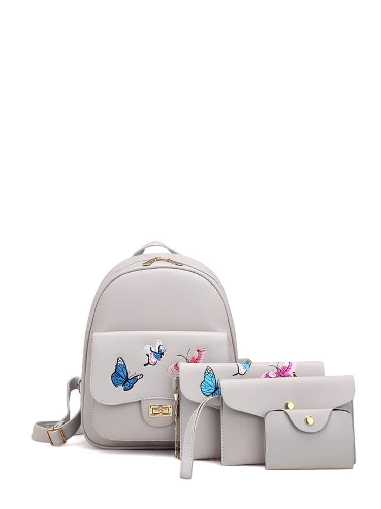 Butterfly Embroidered PU Combination Bag 4pcs