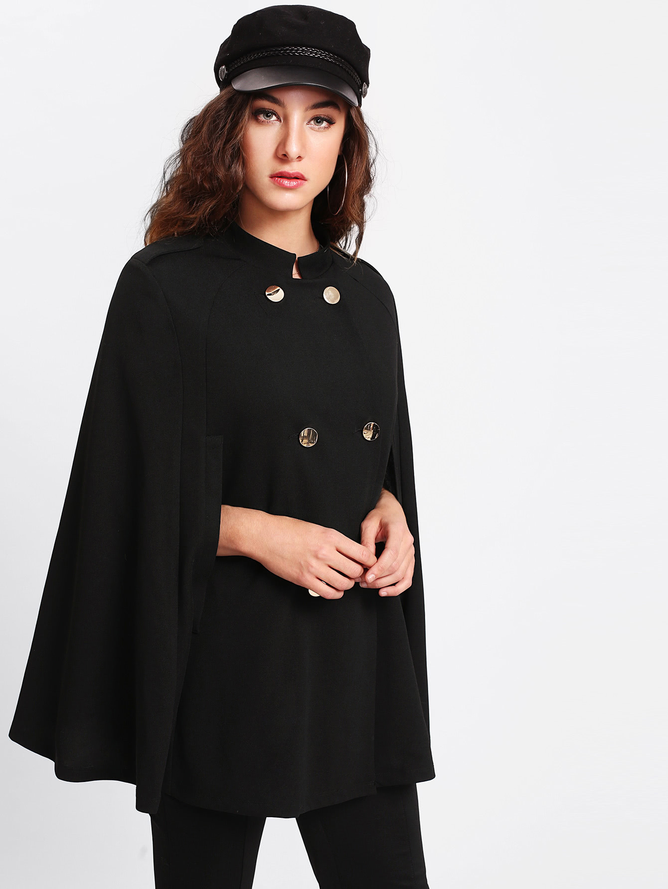 Double Breasted Cape Coat lisa corti короткое платье