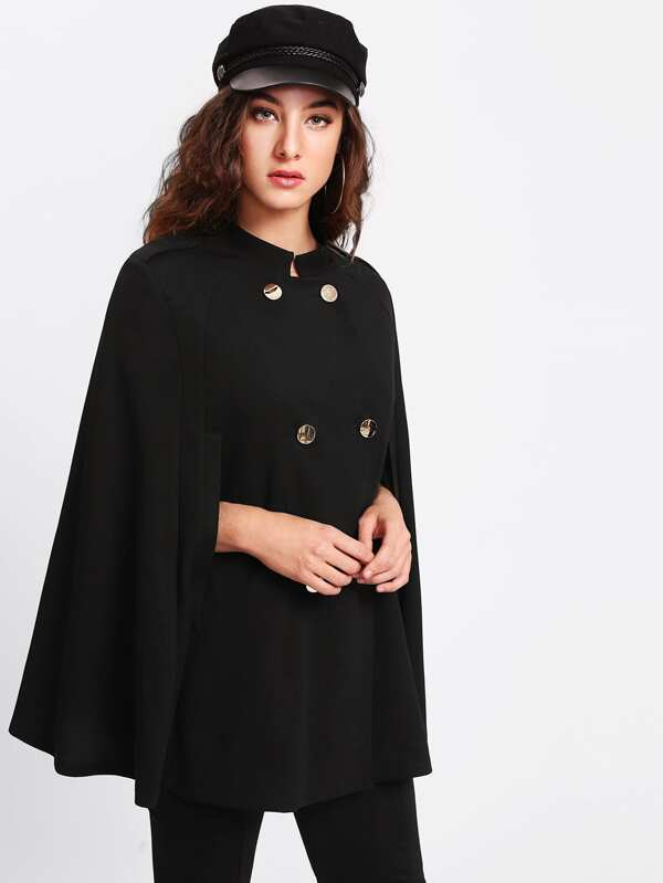 Double Breasted Cape Coat by Shein