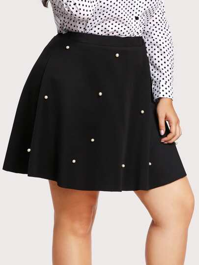 Pearl Beaded Boxed Pleated Skirt
