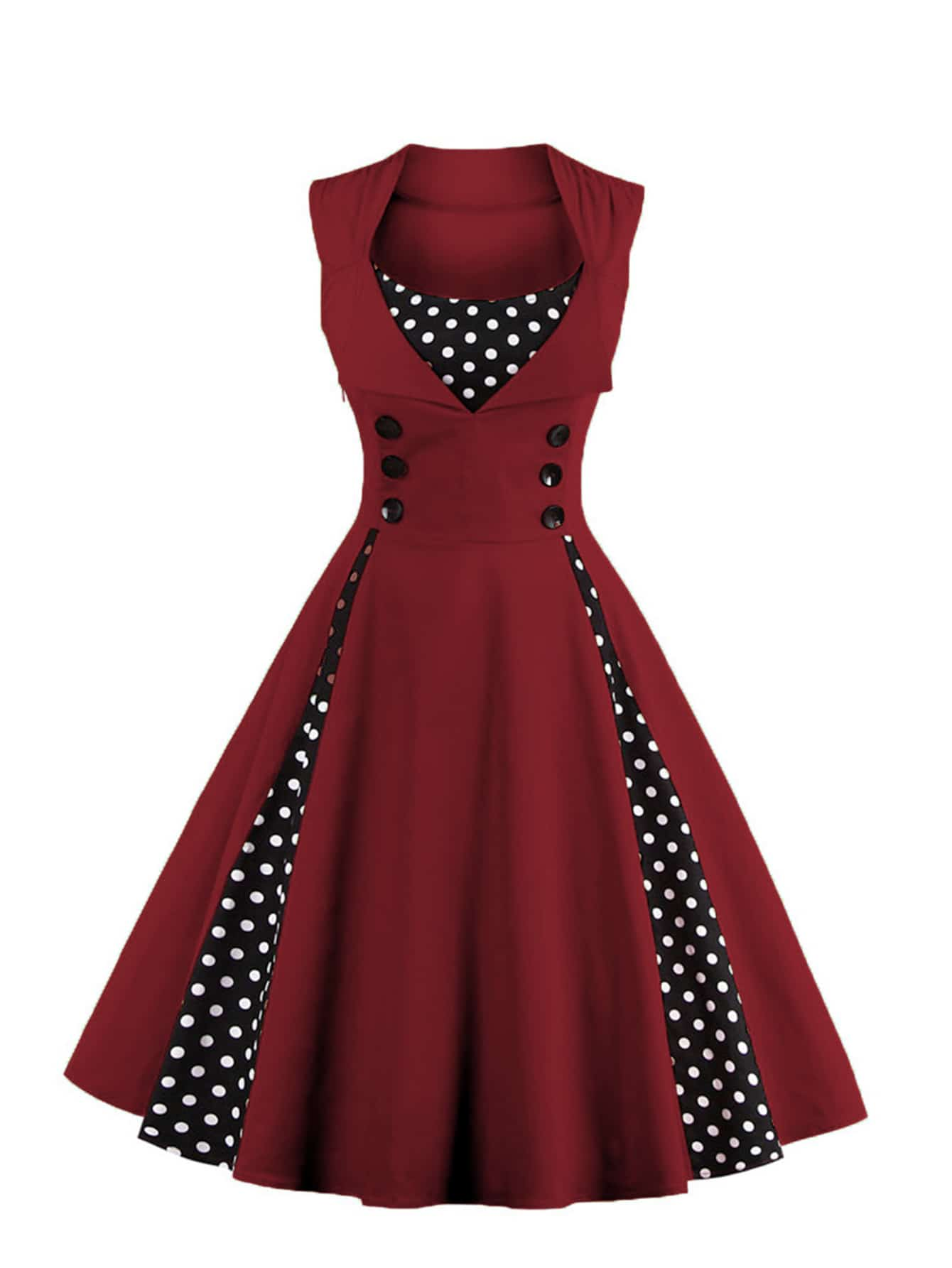 Contrast Polka Dot Foldover Circle Dress polka dot slit hem contrast dress