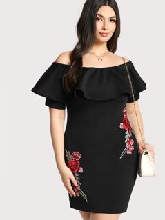 Plus Embroidered Rose Patch Flounce Bardot Dress