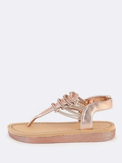 Strappy Glitter Thong Sandals ROSE GOLD