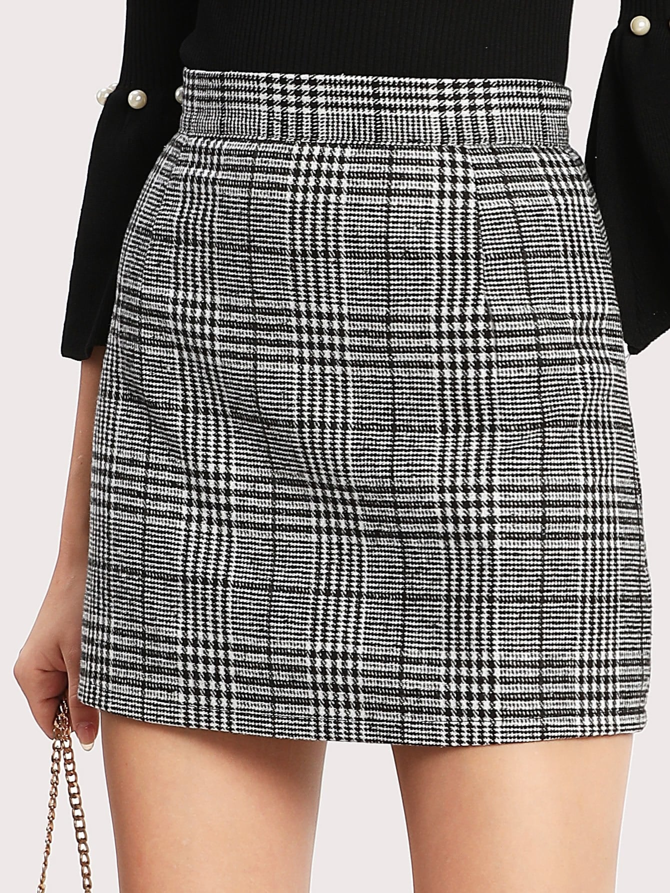 Wales Check Zip Back Skirt botanical embroidery zip back skirt