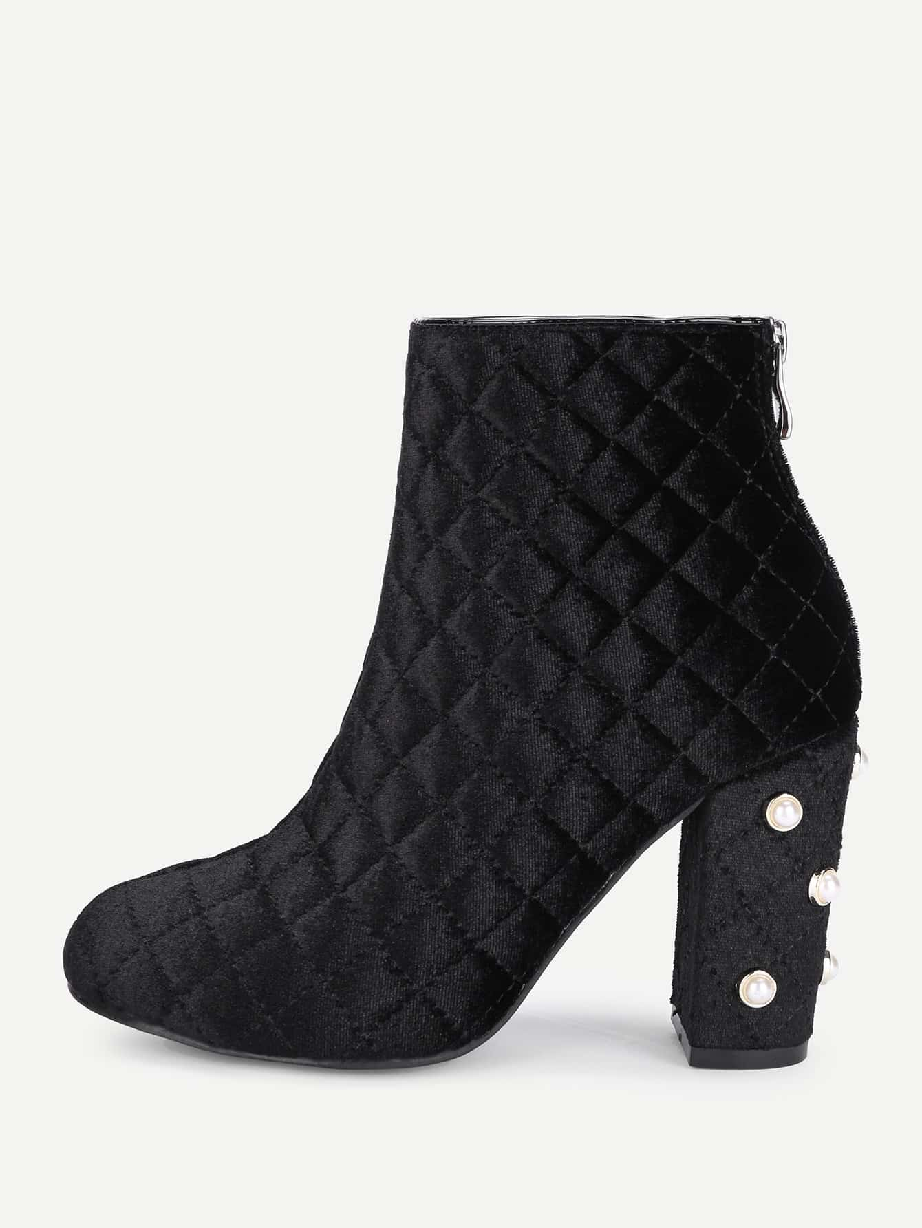 Women's Quilted Block Heel Ankle Booties