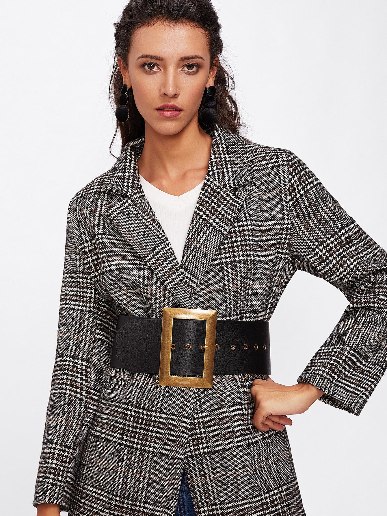 Oversized Square Buckle Belt women fashion square buckle basic dress leatherette wide belt