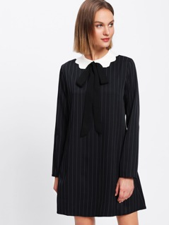 Contrast Collar Bow Tied Detail Striped Dress