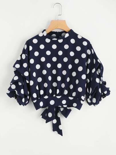 Polka Dot Ruched Sleeve Top With Bow Tie Back