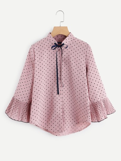 Fluted Sleeve Polka Dot Tie Neck Top