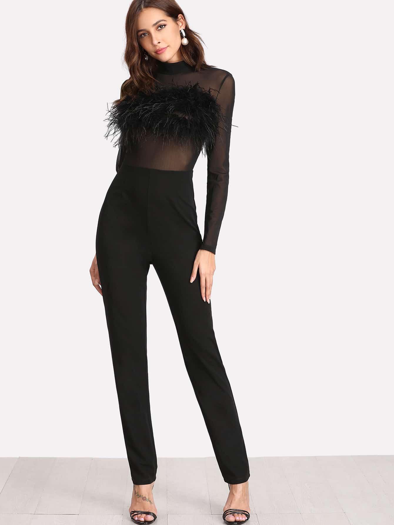 Faux Fur Embellished Tailored Jumpsuit plaid tailored jumpsuit