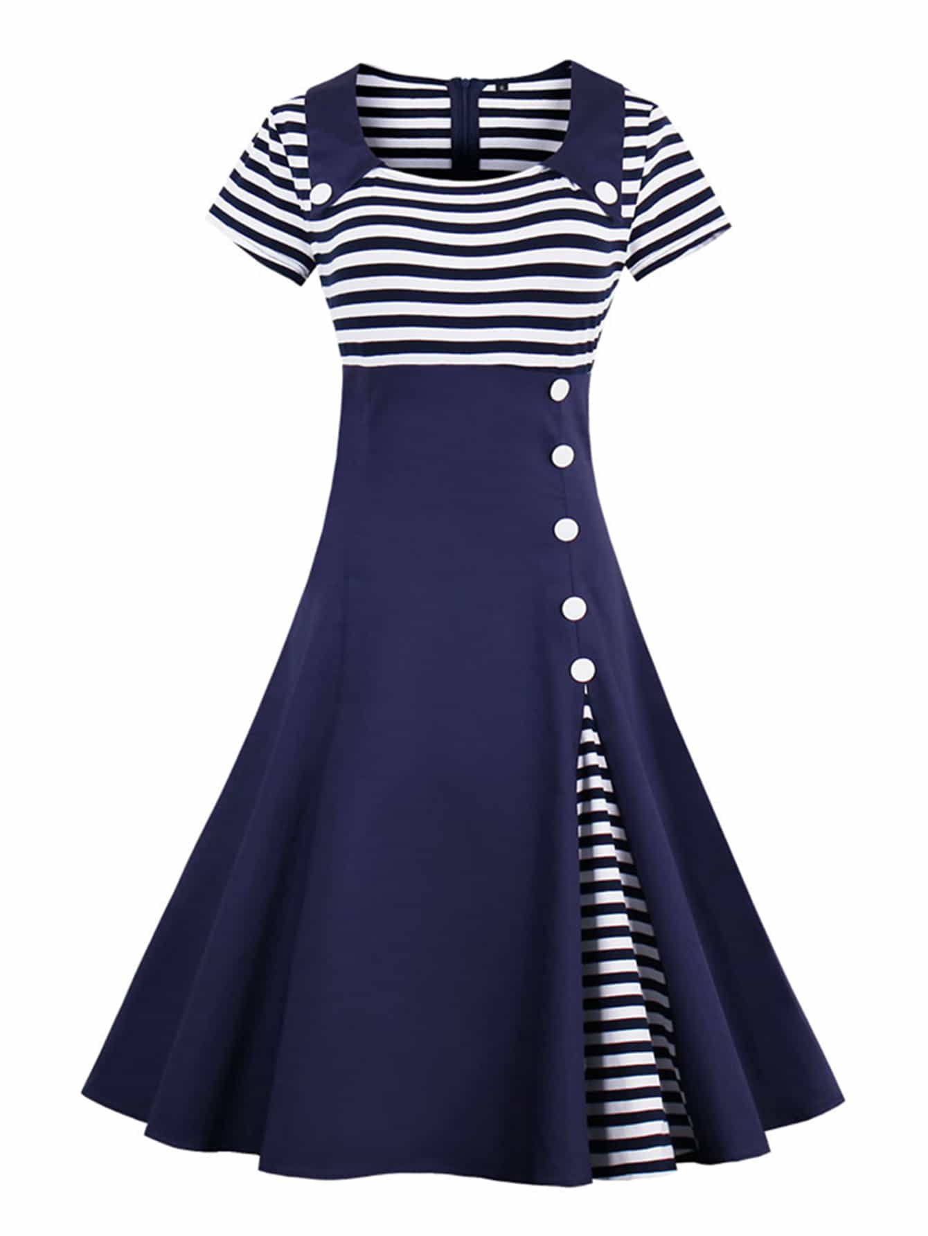 Contrast Striped Button Detail Flare Dress contrast collar bow tied detail striped dress