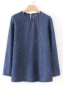 Модная джинсовая блуза с бусинами