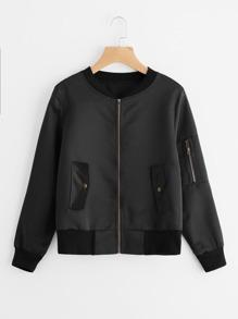 Pocket Sleeve Zip Up Jacket