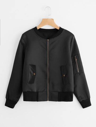 Pocket Sleeve Zip Up Jacket