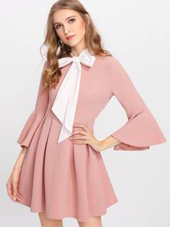 Ruffle Sleeve Tied Neck Box Pleated Textured Dress