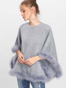 Contrast Faux Fur Trim Poncho Coat