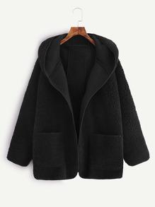 Drop Shoulder Dual Pocket Hooded Coat